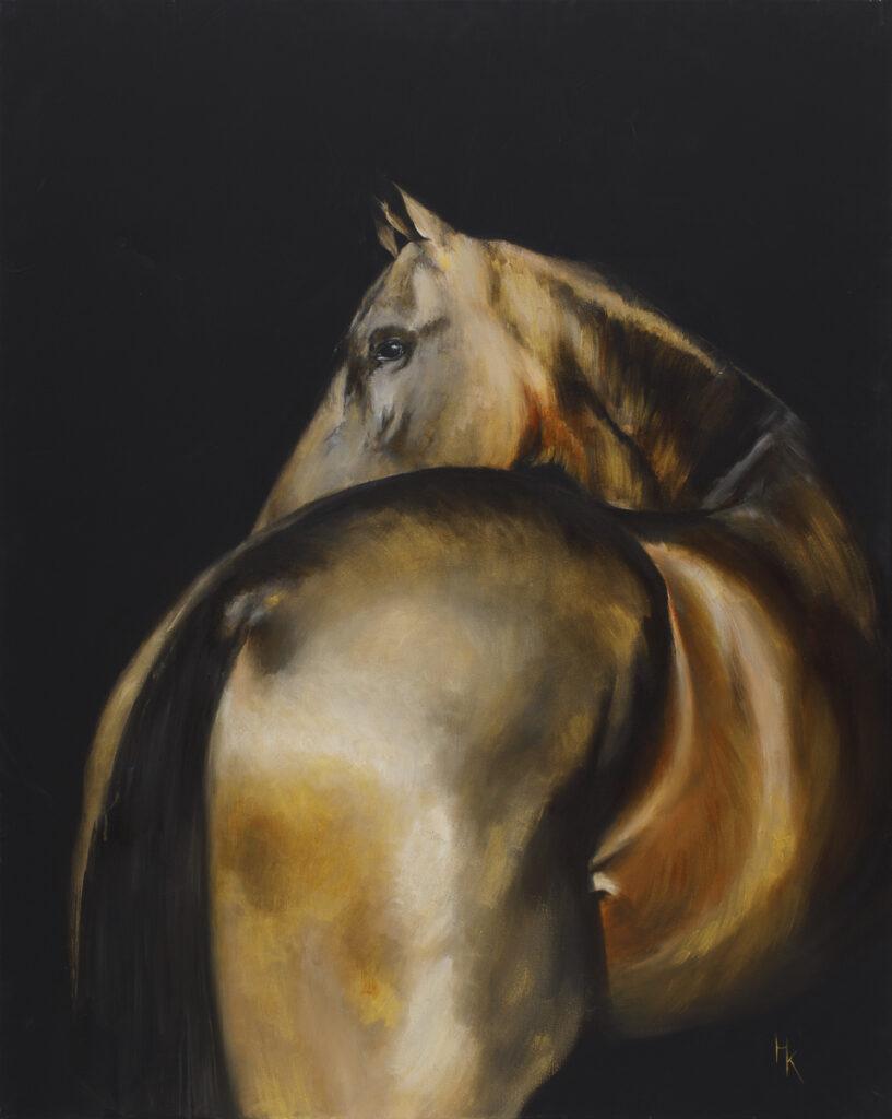 Golden Horse - Khrystyna Hladka (2020), obraz akrylowy na płótnie