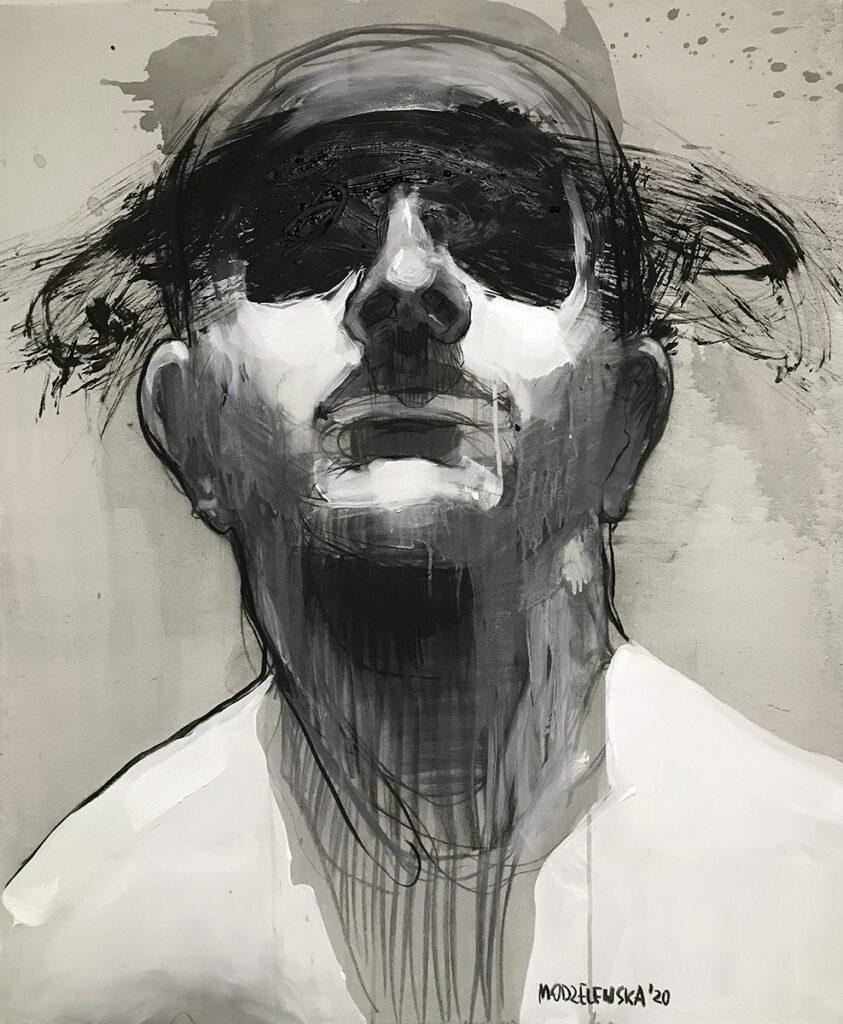 XXI z cyklu Maska czy twarz - Aleksandra Modzelewska (2020), akryl, węgiel