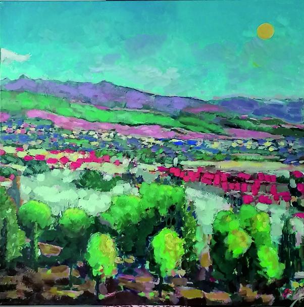 Panorama miasta - Gabriela Paluch (2020), obraz olejny na płótnie