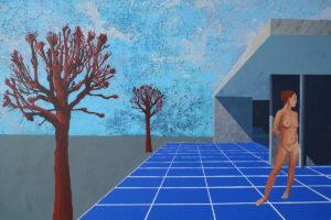 Czerwone drzewa - Wojciech Pukocz (2019), obraz olejny na płótnie