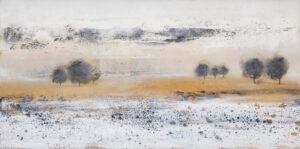 Pejzaż i ugrowe ciepło - Nina Zielińska-Krudysz (2020), obraz akrylowy na płótnie