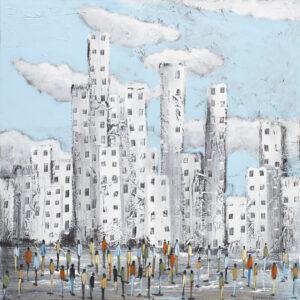 Miejski tłok - Filip Łoziński (2020), obraz akrylowy na płótnie