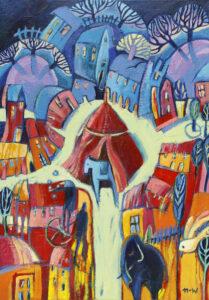 Cyrk w Miasteczku - Natalia Nasada-Wojtal (2020), olej, akryl, pastel, płótno