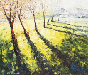Słońce w sadzie - Adam Piotr Rutkowski (2019), obraz olejny na płótnie