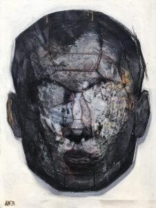 Maska czy twarz S4 24 - Aleksandra Modzelewska (2020), akryl, klej, węgiel, flamaster, płótno