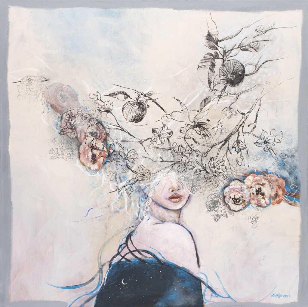 Chaos rajskiego ogrodu - Żaneta Chłostowska-Szwaczka (2020), akryl, tusz, płótno