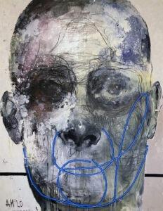Maska czy twarz X - Aleksandra Modzelewska - ekspresyjny portret w bieli, czerni i szarości