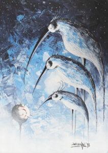 Bez tytułu (2018) - Bartlomiej Baranowski - błękitny obraz z ptakami