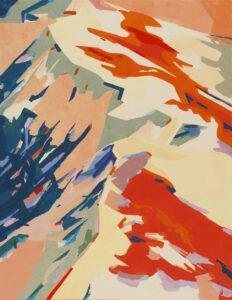 szukając swojej ścieżki - Anna wiegebińska-bączek - grzbiet górski w żywych kolorach (czerwieni, żółtym i niebieskim oraz ich odcieniach)