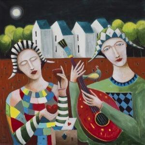 Muzyka jak noc kołysze moje serce (2020) - Mirosław Nowiński - muzycy z gitarą bajkowy obraz