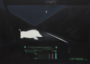 Accident (2019) - Kacper Woźny - praca przedstawia obraz dzika przebiegającego nocą przez drogę widzianego z kabiny kierowcy samochodu