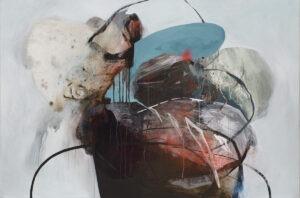 Otoczaki 29 - Agata Czeremuszkin-Chrut - abstrakcja z czernią turkusem na jasnym tle