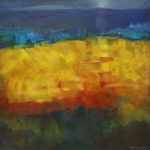 Pejzaż (2019) - Barbara Bielecka-Woźniczko - rozmyty pejzaż zielono, żółto, niebieski