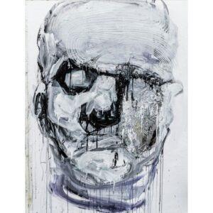 Maska czy twarz IV - Aleksandra Modzelewska - ekspresyjny portret w bieli, czerni i szarości