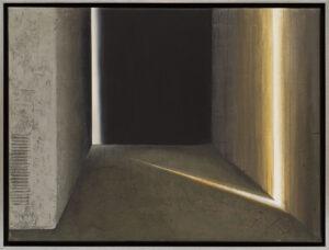 Na krawędzi swiatła 030 - Ewa Zawadzka - abstrakcja czarno-brązowa ze świetlistym elementem