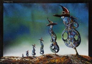 Czarodzieje drzew 3 (2021) - Bartłomiej Baranowski - pejzaż z gwieździstym niebem, personifikacja czarodziejów jako sześciu drzew w spiczastych kapeluszach