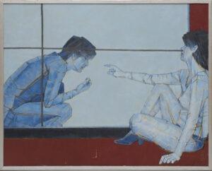 Na temat kobiety - Kazimierz Drejas - scena rodzajowa w błękicie i czerwieni z dwiema postaciami