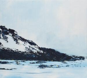 Cosy winter's evening (2021) - Yuliya Stratovich - zimowy górski pejzaż, błękit