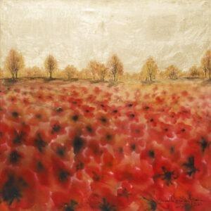 Upalne lato (2020) - Mariola Świgulska - pejzaż przedstawiający pole maków, w tle las i niebo w odcieniach złota