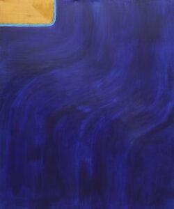 Wielki błetki (2020) - Paulina Niemczyk- błękitno-złota abstrakcja