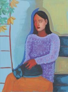 On the terrace (2021) -Agata Burnat - portret kobiety z kotem