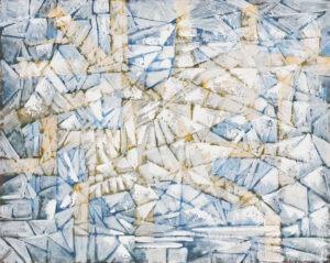 Kompozycja - Filip Łoziński - jasna abstrakcja niebiesko-biało-żółta