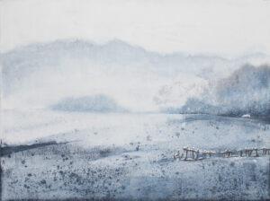 Zimowa cisza w Bieszczadach (2020) - Nina Zielińska-Krudysz - zimowy pejzaż górski, biało-błekitny, Bieszczady