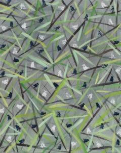 Sitowie (2020) - Andrzej Zujewicz - szaro-zielony obraz, ptaki