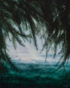 Deszcz - Anna Sołtysiak - biały tygrys w deszczu wśród drzew