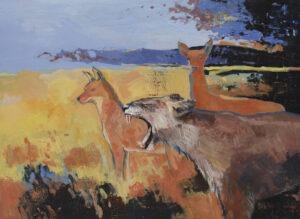 Co w trawie piszczy? (2021) - Maciej Kempiński - obraz, pejzaż ze zwierzętami