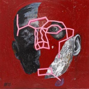 Maska czy twarz S425 (2021) - Aleksandra Modzelewska - czerwony portret, twarz, linie