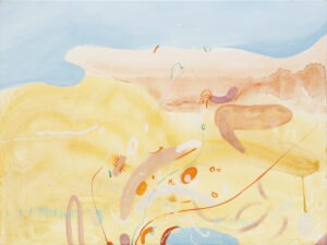 Przeczuwam 2 (2021) - Daria Pyrchała - abstrakcja, dominują żółte i błękitne kolory