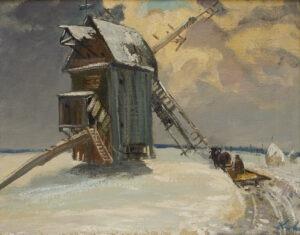 Pejzaż z młynem - Stanisław Kukla - zimowy pejzaż z młyne i wozem konnym