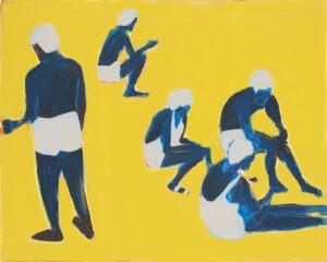 Bez tytułu (2021) - Iwona Kobryń - ludzie na plaży, żółty obraz
