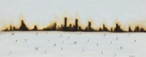 Spacer przed miastem (2021) - Filip Łoziński - obraz z panoramą miasta