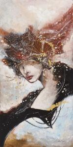 Wschodni wiatr (2021) - Żaneta Chostowska-Szwaczka - portret kobiety z brązowymi zdobieniami zamiast włosów