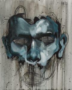 Maska czy twarz S530 (2021) - Aleksandra Modzelewska - ekspresyjny portret mężczyzny na szarym tle
