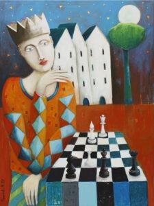 Szachista (2021) - Mirosław Nowiński - obraz przedstawiający sierota grającego w szachy