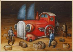Sakwojaże (2021) - Zbigniew Olszewski - bajkowy obraz czerwonej lokomotywy podobnej do automobilu, 4 postacie męskie krzątające się wokół, dookoła rozsypane bagaże