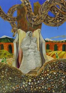 Madonna and child (2021) - Michalina Czurakowska - surrealistyczny obraz przedstawiający madonnę z dzieckiem siedzącą na kamiennym tronie pod drzewem, nad którym lata smok. W tle akwedukt, na pierwszym planie łąka, 3 postacie kobiece w tle.
