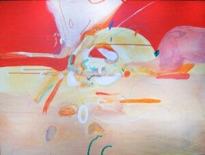 Przeczuwam (2020) - Daria Pyrchała - kolorowa abstrakcja, czerwień