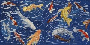 Juuroku (dyptyk) (2021) - Paweł Świątek - obraz przedstawia pływające w wodzie ryby