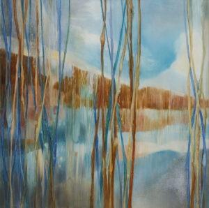 Blue lake 2 (2019) - Jolanta Haluch - rozmyty pejzaż, jezioro z masywem górskim w tle