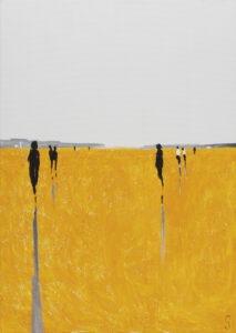 Z dystansem (2020) - Sylwia Jóźwiak - biało-żółty obraz pejzaż ludzie