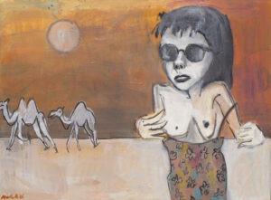 Bez tytułu (2020) - Malwina Mielniczuk - kobieta na pustynii wielbłądy ciało