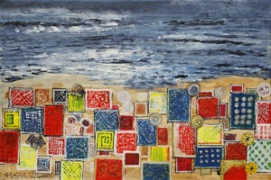 Plaża (2020) - Włodzimierz Zapart - obraz przedstawia nadmorską plażę, na której stłoczone są geometryczne parawany i parasole