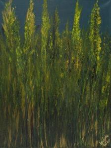Złote trawy (2020) - Izabela Drzewiecka - zielono-żółty obraz rośliny łąka