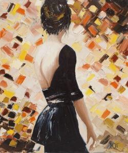 Rozbite lustro duszy - Yulia Gurzhiyants - kobieta stojąca tyłem w czarnej sukience