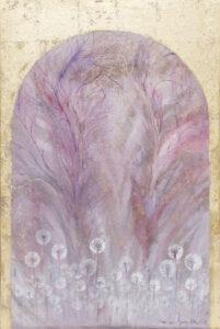 Złote wrota do krainy marzeń (2020) - MAriola Świgulska - złoto0fioletowy obraz rośliny dmuchawce