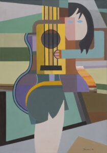 Zielona sukienka (2018) - Jan Pływacz - obraz, kobieta z gitarą